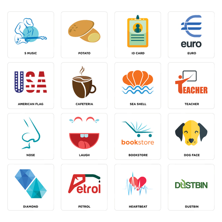 Set Of 16 simple editable icons such as dustbin, heartbeat, petrol, diamond, dog face, s music, american flag, nose, sea shell can be used for mobile, web UI