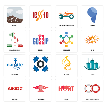 Set Of 16 simple editable icons such as life preserver, hart, catering, aikido, silo, sierra, made in italy, nargile, peoples can be used for mobile, web UI