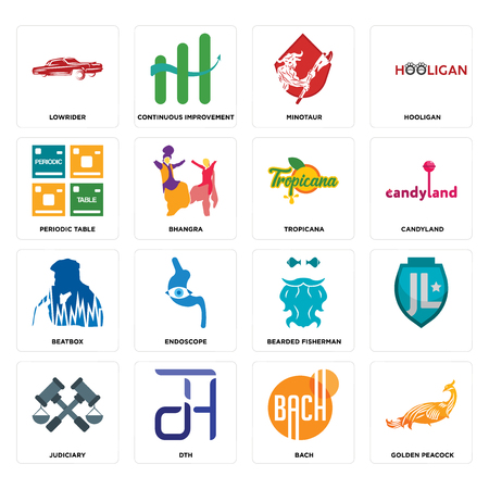 Set Of 16 simple editable icons such as golden peacock, bach, dth, judiciary, , lowrider, periodic table, beatbox, tropicana can be used for mobile, web UI Illustration