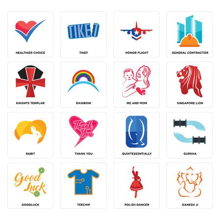 Set Of 16 simple editable icons such as ganesh ji, polish dancer, teechip, goodluck, gurkha, healthier choice, knights templar, rabit, me and mom can be used for mobile, web UI