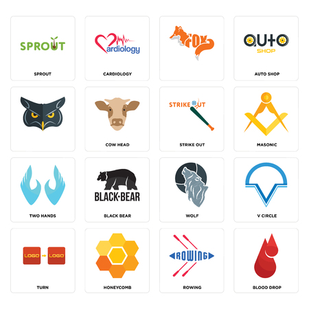 Set Of 16 simple editable icons such as blood drop, rowing, honeycomb, turn, v circle, sprout, , two hands, strike out can be used for mobile, web UI