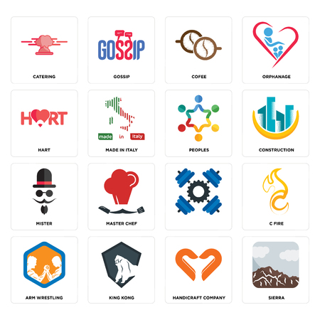 Set Of 16 simple editable icons such as sierra, handicraft company, king kong, arm wrestling, c fire, catering, hart, mister, peoples can be used for mobile, web UI
