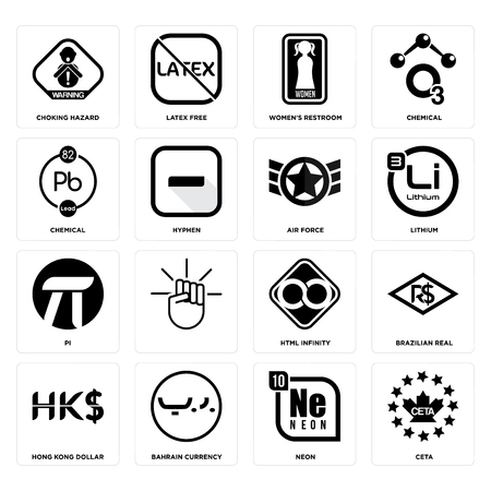 Set Of 16 simple editable icons such as ceta, neon, bahrain currency, hong kong dollar, brazilian real, choking hazard, chemical, pi, air force can be used for mobile, web UI
