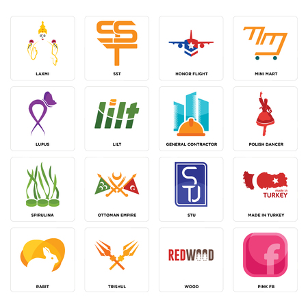 Set Of 16 simple editable icons such as pink fb, wood, trishul, rabit, made in turkey, laxmi, lupus, spirulina, general contractor can be used for mobile, web UI Illustration