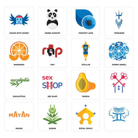 Set Of 16 simple editable icons such as, royal family, quran, mayan, house with wings, mandarin, eucalyptus, stellar can be used for mobile, web UI