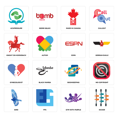 Set Of 16 simple editable icons such as kicker, gym with purple, ffs, bird, no copyright, acupressure, knight on horseback, gynecologist Illustration