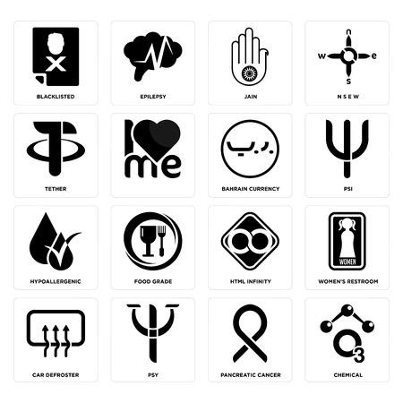 Set Of 16 simple editable icons such as chemical, pancreatic cancer, psy, car defroster, womens restroom, blacklisted, tether, hypoallergenic, bahrain currency can be used for mobile, web UI