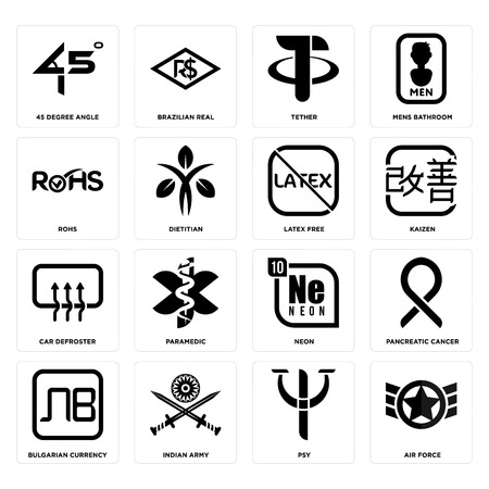 Set Of 16 simple editable icons such as air force, psy, indian army, bulgarian currency, pancreatic cancer, 45 degree angle, rohs, car defroster, latex free can be used for mobile, web UI