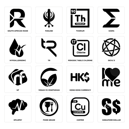 Set Of 16 simple editable icons such as singapore dollar, copper, food grade, epilepsy, , south african rand, hypoallergenic, nf, periodic table chlorine can be used for mobile, web UI Illustration