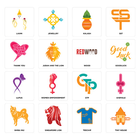 Set Of 16 simple editable icons such as tiny house, teechip, singapore lion, shiba inu, shemale, laxmi, thank you, lupus, wood can be used for mobile, web UI