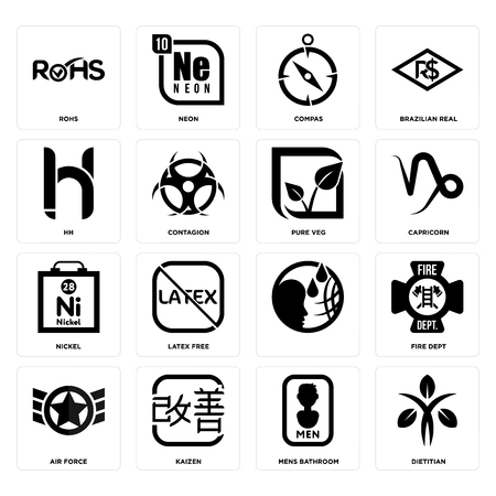 Set Of 16 simple editable icons such as dietitian, mens bathroom, kaizen, air force, fire dept, rohs, hh, nickel, pure veg can be used for mobile, web UI