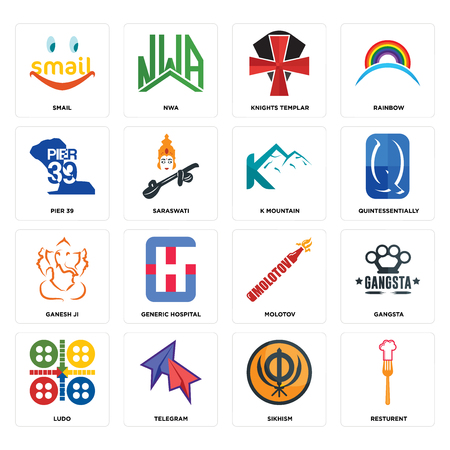 Set Of 16 simple editable icons such as resturent, sikhism, telegram, ludo, gangsta, smail, pier 39, ganesh ji, k mountain can be used for mobile, web UI Illustration