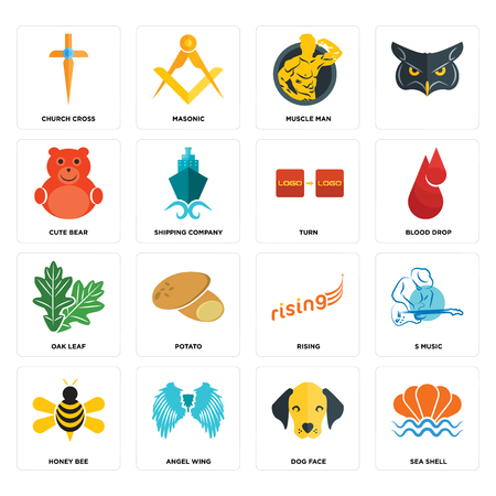 Set Of 16 simple editable icons such as sea shell, dog face, angel wing, honey bee, s music, church cross, cute bear, oak leaf, turn can be used for mobile, web UI Çizim