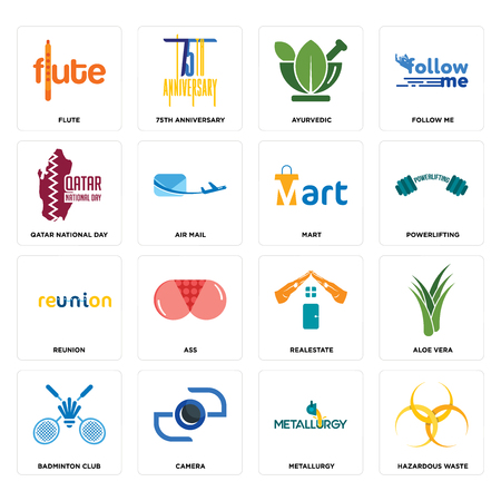 Set Of 16 simple editable icons such as hazardous waste, metallurgy, camera, badminton club, aloe vera, flute, qatar national day, reunion, mart can be used for mobile, web UI