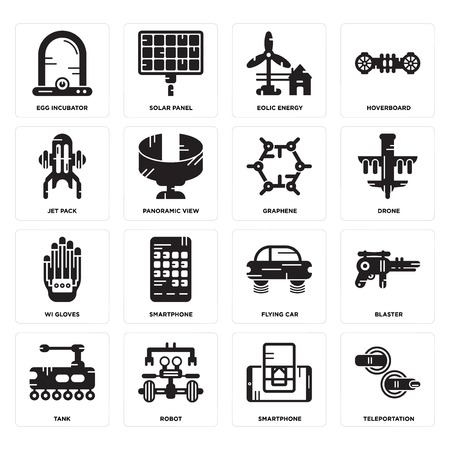Set Of 16 simple editable icons such as Teleportation, Smartphone, Robot, Tank, Blaster, Egg incubator, Jet pack, Wi gloves, Graphene can be used for mobile, web UI