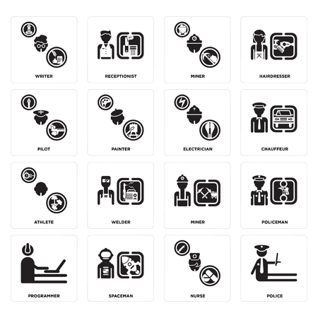 Set Of 16 simple editable icons such as Police, Nurse, Spaceman, Programmer, Policeman, Writer, Pilot, Athlete, Electrician can be used for mobile, web UI Illustration