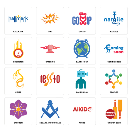 Set Of 16 simple editable icons such as cricket club, aikido, square and compass, saffron, peoples, hallmark, odometer, c fire, earth hour can be used for mobile, web UI Foto de archivo - 102656691
