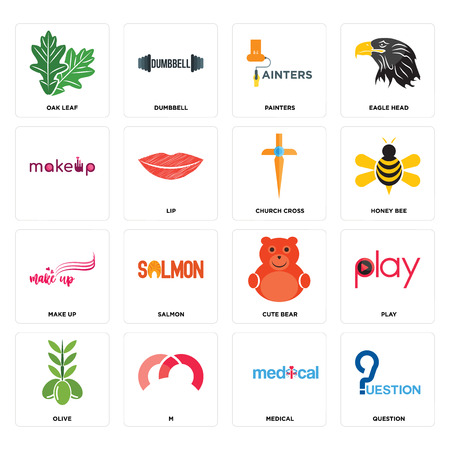 Set Of 16 simple editable icons such as question, medical, m, olive, play, oak leaf, , make up, church cross can be used for mobile, web UI Stock Illustratie