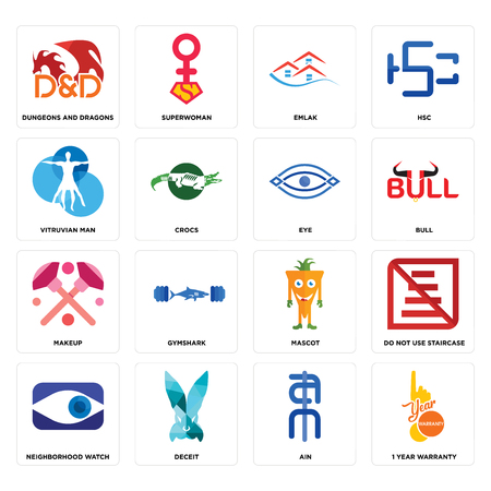 Set Of 16 simple editable icons such as 1 year warranty, ain, deceit, neighborhood watch, do not use staircase, dungeons and dragons, vitruvian man, makeup, eye can be used for mobile, web UI