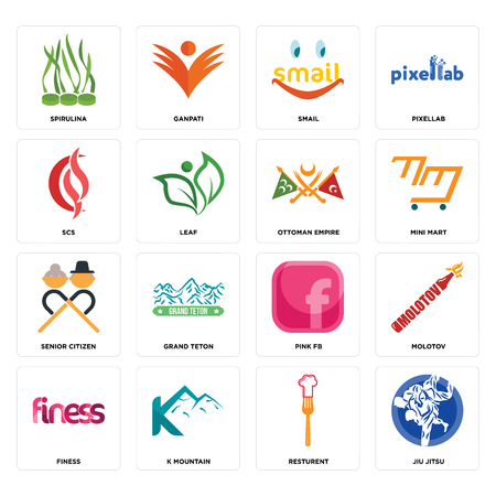 Set Of 16 simple editable icons such as jiu jitsu, resturent, k mountain, finess, molotov, spirulina, scs, senior citizen, ottoman empire can be used for mobile, web UI