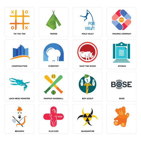 Set Of 16 simple editable icons such as, quarantine, plus size, brahmin, bose, tic tac toe, constraction, loch ness monster, save the rhino can be used for mobile, web UI
