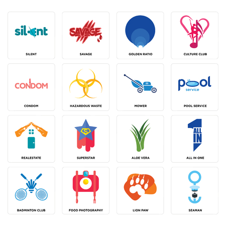 Set Of 16 simple editable icons such as seaman, lion paw, food photography, badminton club, all in one, silent, condom, realestate, mower can be used for mobile, web UI