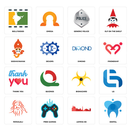 Set Of 16 simple editable icons such as dental, leipzig hd, free gaming, patanjali, lg, bollywood, siddhivinayak, thank you, dimond can be used for mobile, web UI