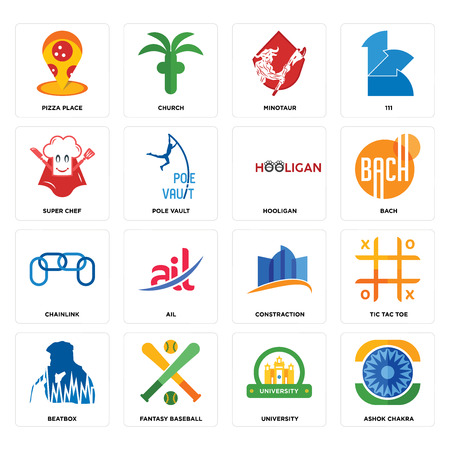 Set Of 16 simple editable icons such as ashok chakra, university, fantasy baseball, beatbox, tic tac toe, pizza place, super chef, chainlink, hooligan can be used for mobile, web UI