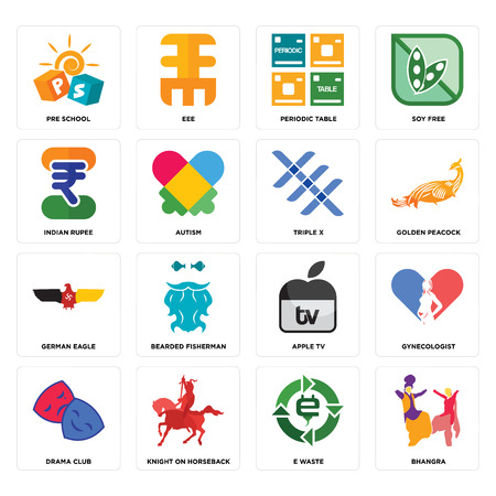 Set Of 16 simple editable icons such as bhangra, e waste, knight on horseback, drama club, gynecologist, pre school, indian rupee, german eagle, triple x can be used for mobile, web UI