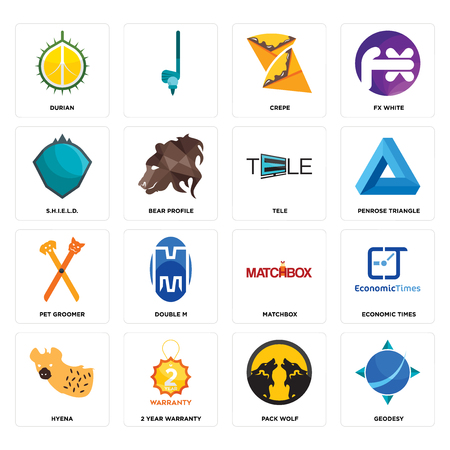 Set Of 16 simple editable icons such as geodesy, pack wolf, 2 year warranty, hyena, economic times, durian, s.h.i.e.l.d., pet groomer, tele can be used for mobile, web UI