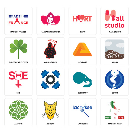 Set Of 16 simple editable icons such as made in italy, lacrosse, bobcat, jasmine, squat, france, three leaf clover, she, penrose can be used for mobile, web UI