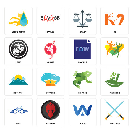 Set Of 16 simple editable icons such as excalibur, a & w, spartan, bike, ayurvedic, liquid nitro, usmc, mountain, raw file can be used for mobile, web UI