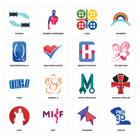 Set Of 16 simple editable icons such as pier 39, telegram, milf, kurt, knights templar, gurkha, quintessentially, tiket, generic hospital can be used for mobile, web UI