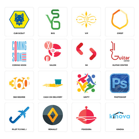 Set Of 16 simple editable icons such as kinova, foodora, renault, pilot flying j, photoshop, cub scout, coming soon, 360 degree, SH can be used for mobile, web UI Illustration