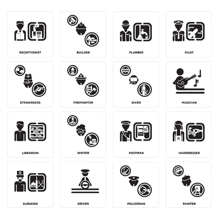 Set Of 16 simple editable icons such as Painter, Policeman, Driver, Surgeon, Hairdresser, Receptionist, Stewardess, Librarian, Diver can be used for mobile, web UI Illustration