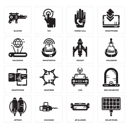 Set Of 16 simple editable icons such as Solar panel, Ar glasses, Chainsaw, Jetpack, Egg incubator, Blaster, Hologram, Smartphone, Rocket can be used for mobile, web UI