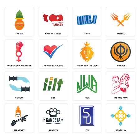 Set Of 16 simple editable icons such as jewellry, stu, gangsta, saraswati, me and mom, kalash, women empowerment, gurkha, judah the lion can be used for mobile, web UI