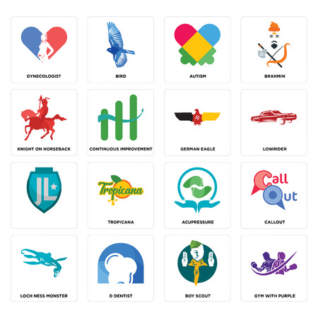 Set Of 16 simple editable icons such as gym with purple, boy scout, d dentist, loch ness monster, callout, gynecologist, knight on horseback, , german eagle can be used for mobile, web UI Illustration
