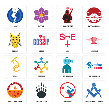 Set Of 16 simple editable icons such as square and compass, batsman, grizzly claw, brick oven pizza, coming soon, squat, bobcat, c fire, she can be used for mobile, web UI Foto de archivo - 102656738
