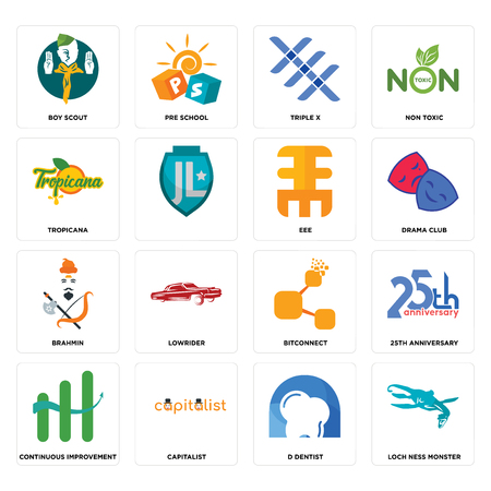 Set Of 16 simple editable icons such as loch ness monster, d dentist, capitalist, continuous improvement, 25th anniversary, boy scout, tropicana, brahmin, eee can be used for mobile, web UI