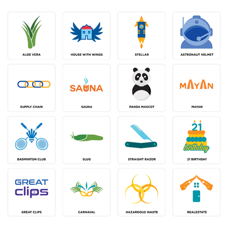 Set Of 16 simple editable icons such as realestate, hazardous waste, carnaval, great clips, 21 birthday, aloe vera, supply chain, badminton club, panda mascot can be used for mobile, web UI