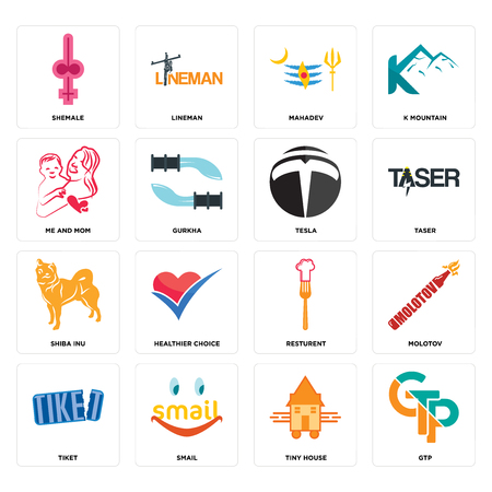 Set Of 16 simple editable icons such as gtp, tiny house, smail, tiket, molotov, shemale, me and mom, shiba inu, tesla can be used for mobile, web UI Illustration