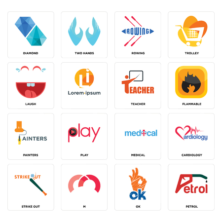Set Of 16 simple editable icons such as petrol, ok, m, strike out, cardiology, diamond, laugh, painters, teacher can be used for mobile, web UI