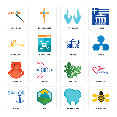 Set Of 16 simple editable icons such as honey bee, dental clinic, pic, sailor, cardiology, strike out, warranty, cute bear, bridge can be used for mobile, web UI Stock Vector - 102656745