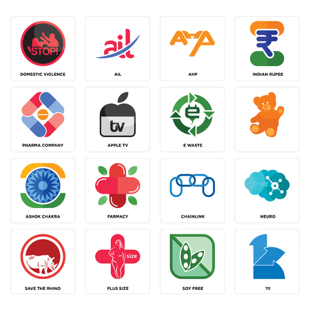 Set Of 16 simple editable icons such as 111, soy free, plus size, save the rhino, neuro, domestic violence, pharma company, ashok chakra, e waste can be used for mobile, web UI