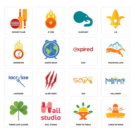 Set Of 16 simple editable icons such as cinco de mayo, farm to table, nail studio, three leaf clover, hallmark, cricket club, odometer, lacrosse, expi can be used for mobile, web UI