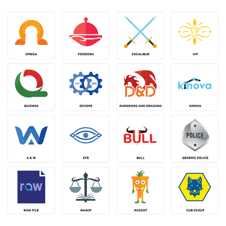 Set Of 16 simple editable icons such as cub scout, mascot, naacp, raw file, generic police, omega, quiznos, a & w, dungeons and dragons can be used for mobile, web UI Illustration