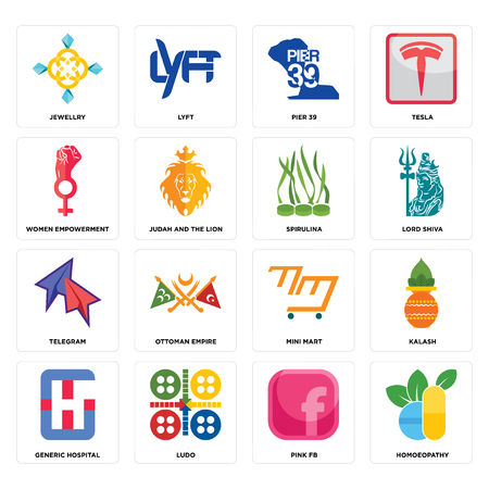 Set Of 16 simple editable icons such as homoeopathy, pink fb, ludo, generic hospital, kalash, jewellry, women empowerment, telegram, spirulina can be used for mobile, web UI