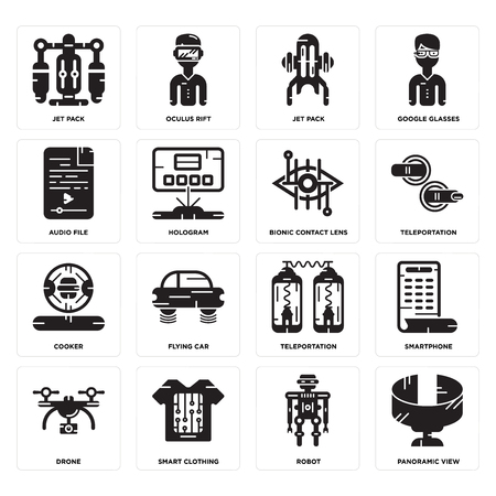 Set Of 16 simple editable icons such as Panoramic view, Robot, Smart clothing, Drone, Smartphone, Jet pack, Audio file, Cooker, Bionic contact lens can be used for mobile, web UI Illustration