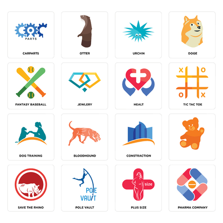Set Of 16 simple editable icons such as pharma company, plus size, pole vault, save the rhino, , carparts, fantasy baseball, dog training, healt can be used for mobile, web UI